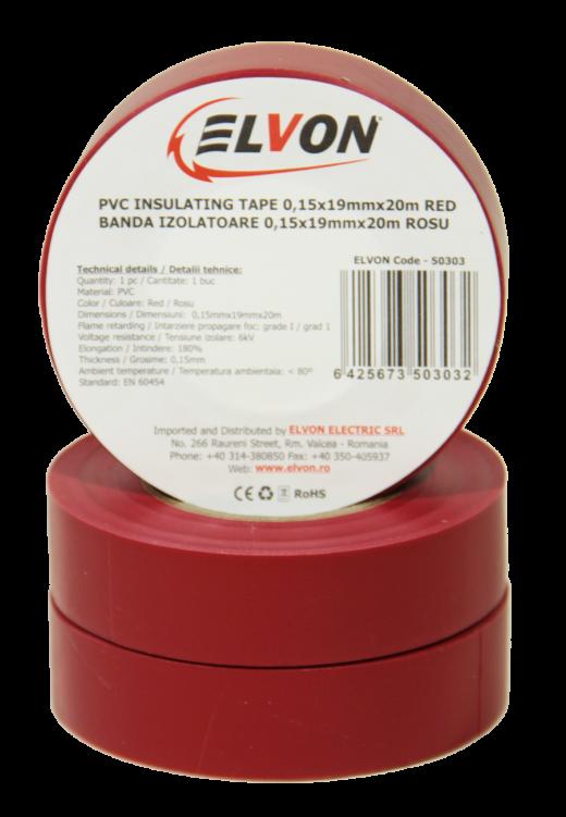 50303-BANDA IZOLATOARE ELVON 0,15x19mmx20M ROSU (2)